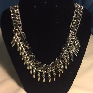 Silver and black statement necklace
